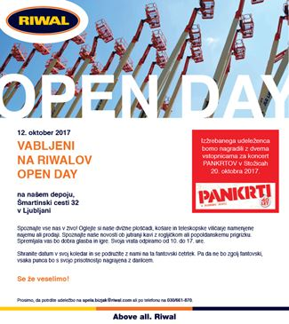 open day dan odprtih vrat Riwal najem opreme prodaja dvižne ploščadi košare teleskopski izpit za viličar nagradna igra Pankrti Stožice