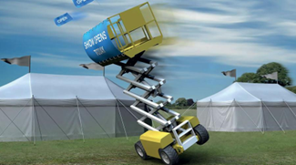 Riwal scissor lift in windy condition