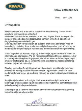 Riwal Danmark | Driftspolitik