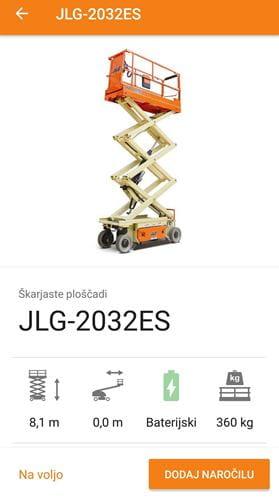 Riwal Slovenija mobilna aplikacija za najem dvižnih naprav, košar in teleskopskih viličarjev
