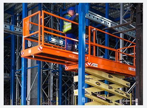 Riwal scissor lift used for racking installation