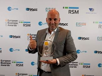 European Business Awards - Ben Maes with the Customer and Market Engagement Award