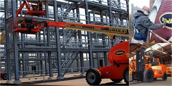 Riwal najem opreme ljubljana split zagreb prodaja dvižne košare ploščadi teleskopski viličarji usposabljanja delo na višini industirja avtokošare JLG rezervni deli Genie Manitou servis industrija